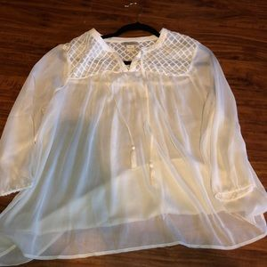Lucky Brand sheer peasant blouse Ivory/cream